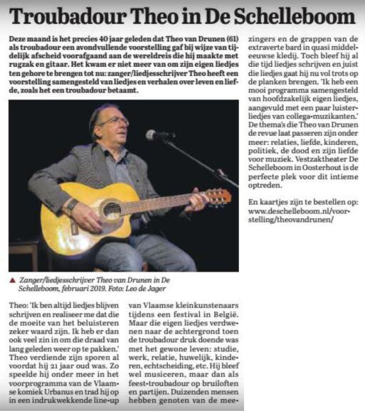 artikel als aankondiging van de première op 22-2-2019 in Weekblad Oosterhout